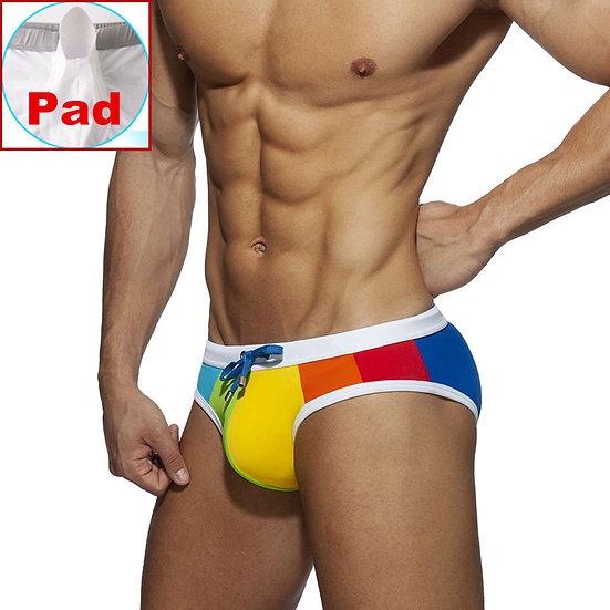 Sexy Bikini Men Swimwear Rainbow Swimsuit Mens Swim Briefs Swimming Shorts
