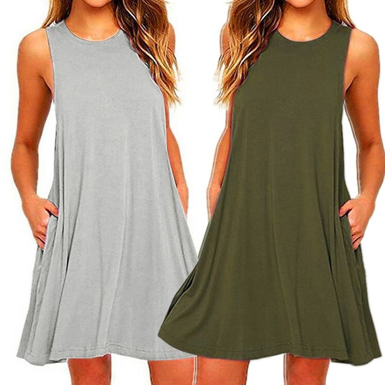 2020 Women's Summer Casual Swing T-Shirt Dresses Beach Cover Up With Pockets