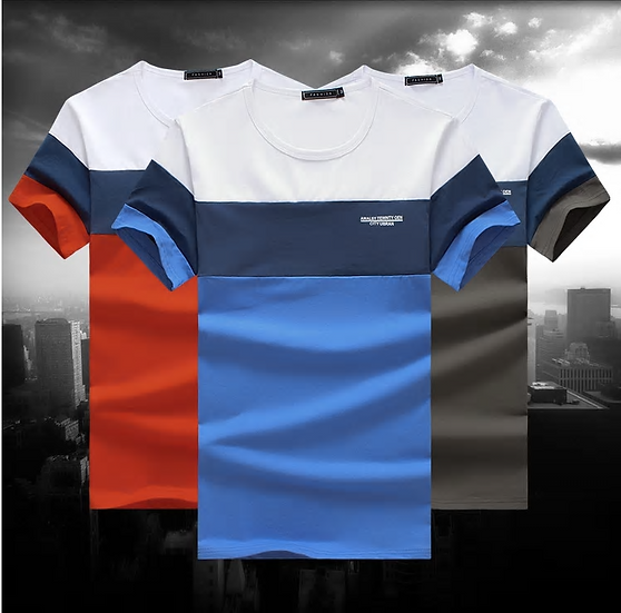 New Summer Men's T Shirt  Fashion Striped T Shirt Mens Clothing Trend Slim F