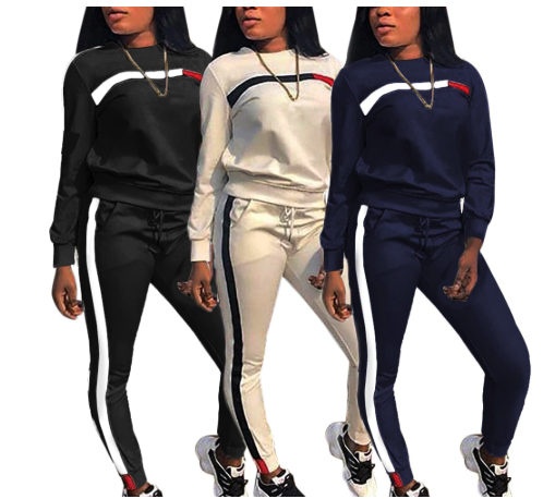 Women Sweatshirt and Sweatpants Sets Patchwork Fashion Tracksuit Set Casual Long