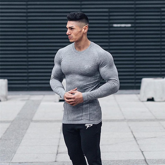 NEW Men Compression Quick Dry Long Sleeve T-Shirt Man Gym Fitness Running