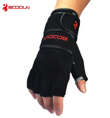 Genuine Leather Men's Half Finger Crossfit Gloves Non Slip Gym Fitness Gloves Du