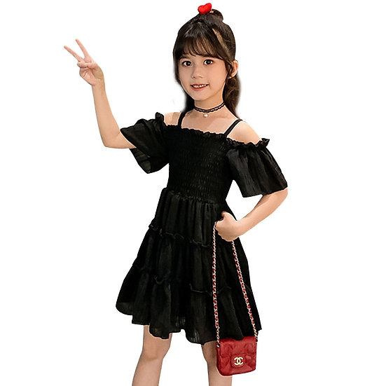 Girl Dresses Solid Color Girl Child Summer Dress Casual Style 6 8 10 12 14 Year