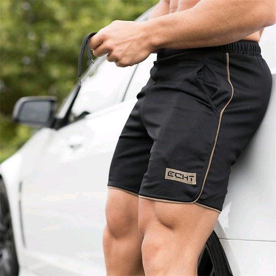 Men Summer Slim Shorts  Fitness Bodybuilding Running Male Short Pant Knee