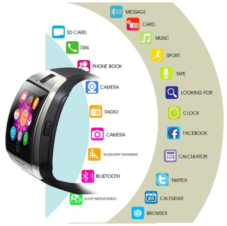 Bluetooth Smart Watch Men Women Q18 With Touch Screen Big Battery Support TF Sim