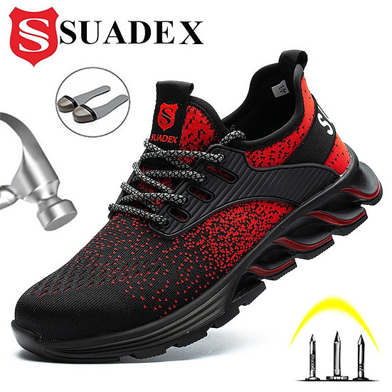 SUADEX Safety Shoes Men Women Steel Toe Boots Indestructible Work Shoes Light