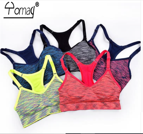 Yomay women Sports Bras Fitness Sports Bra Top Shockproof Shapes Quick Dry Runni