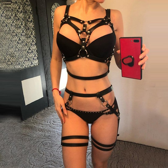 Hot Selling Black Leather Garter Two Piece Set Sexy Harness Bra Cage Adjustable