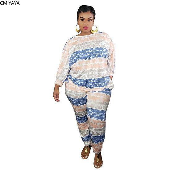 CM.YAYA Active Wear Plus Size XL-5XL Wave Striped Print Women's Set Pencil Pants
