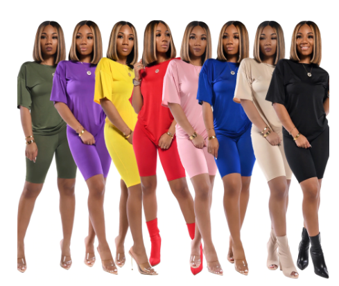 2020 Women Sets Summer Tracksuits Short Sleeve Top Shorts Suit Two Piece Set Spo
