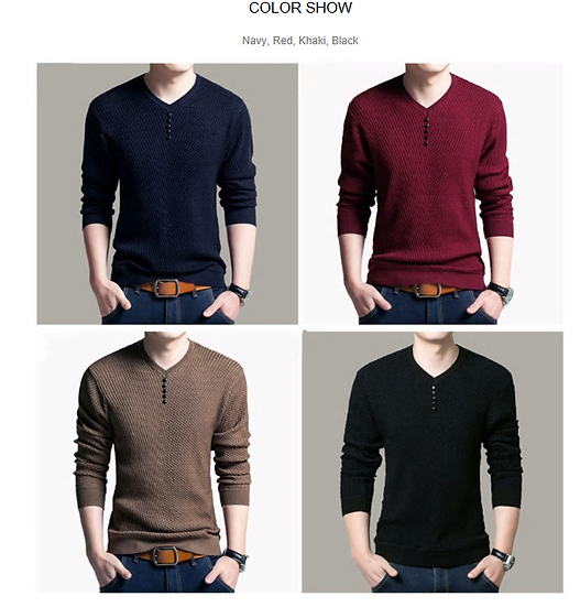 COODRONY Sweater Men Casual V-Neck Pullover Men Autumn Slim Fit Long Sleeve Shir