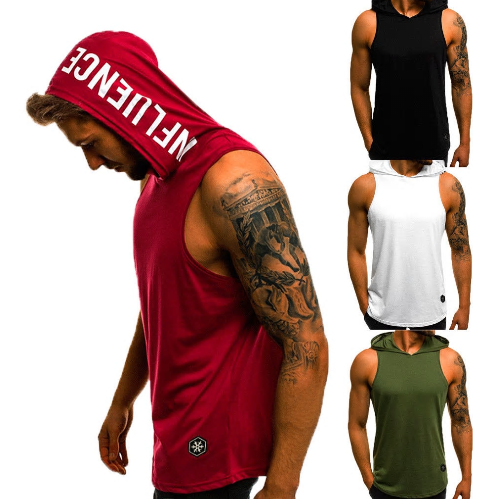 Men's Cotton Sleeveless Hoodie Bodybuilding Workout Tank Tops Muscle Fitness Shi