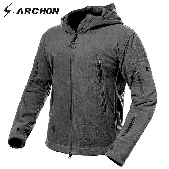 S.ARCHON Winter Thicken Soft Shell Military Fleece Jackets Men Hooded Windproof