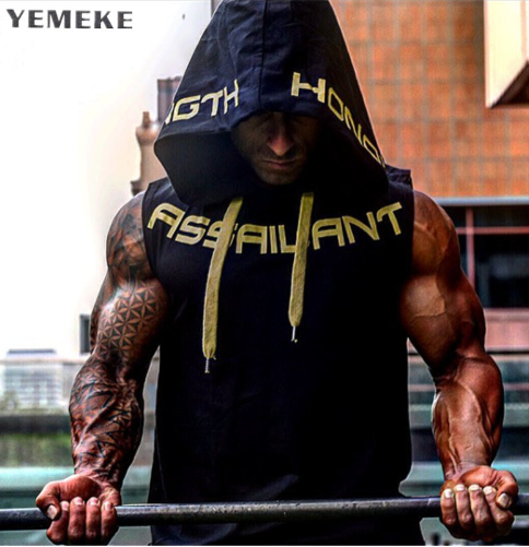YEMEKE 2018 Mens Cotton Hoodie Sweatshirts fitness clothes bodybuilding tank top