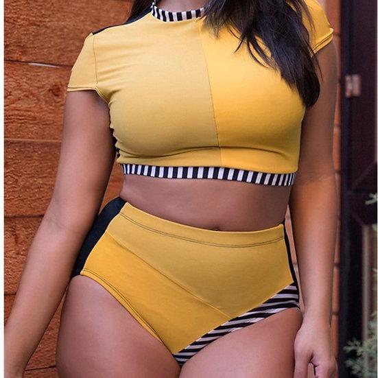 Swimwear Women 2021 Plus Size Bikini Set Two Piece Large Fat Female High Waist