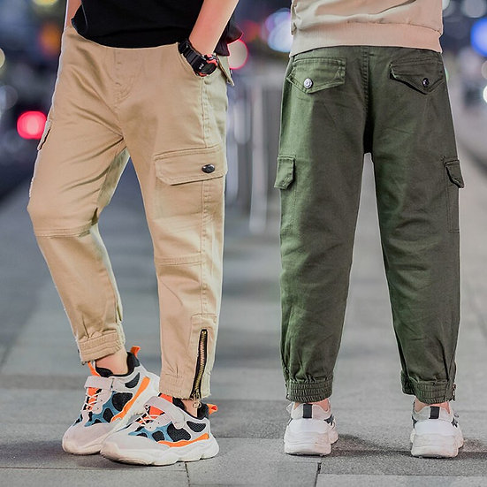 Teenage Boys Cargo Pants With Zipper Pockets Kids Boy Zipper Decorated Jogger