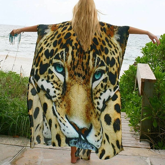 Bikini Cover-Ups Sexy Tiger Pattern Print Kimono 2021 Robe Plage Swimsuit Cover