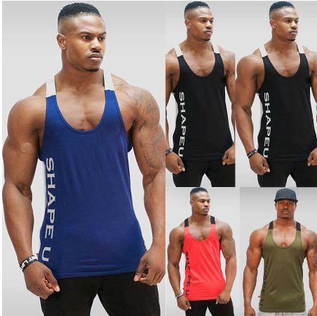 Men Singlet Y Back Vest Workout Tank Top Bodybuilding Muscle Fitness Shirt Worko