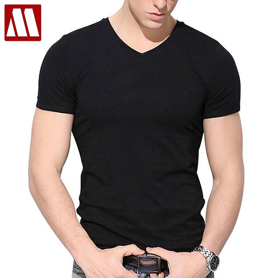 Summer T Shirt Slim Fit Cotton v Collar T Shirts Men's Fitness Tees 2021 New