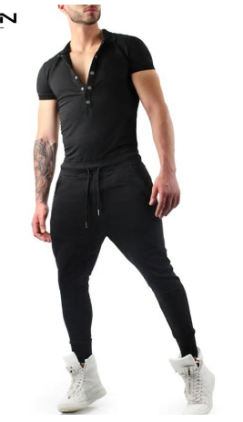 Men Jumpsuit Lapel Neck Rompers Solid Shortsleeve Fitness Hiphop Bo