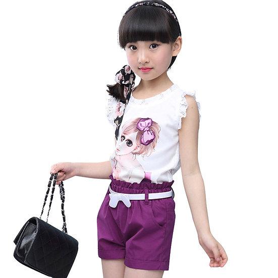 Girls Clothes Set Summer Cartoon Vest + Short Pants 2 PCS  8 10 12 14 Year