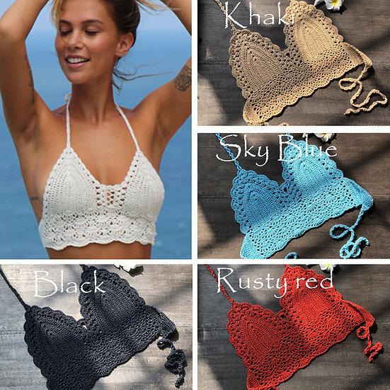 2020 New Triangle Bikini Top Woman Hollow Out Swimsuit Crochet Black Bikini Top