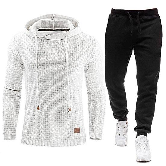 New Tracksuit Men Brand Male Solid Hooded Sweatshirt+Pants Set Mens Hoodie Sweat