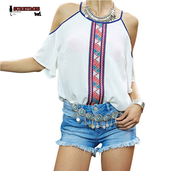 2020 New Summer Strapless Women Female Patchwork Chiffon Tops Blouse Casual Wome