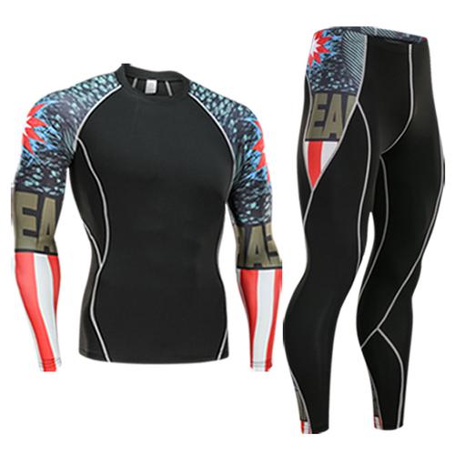 men's sport suit rashgard kit 2 piece tracksuit men crossfit Shirts long sleeves