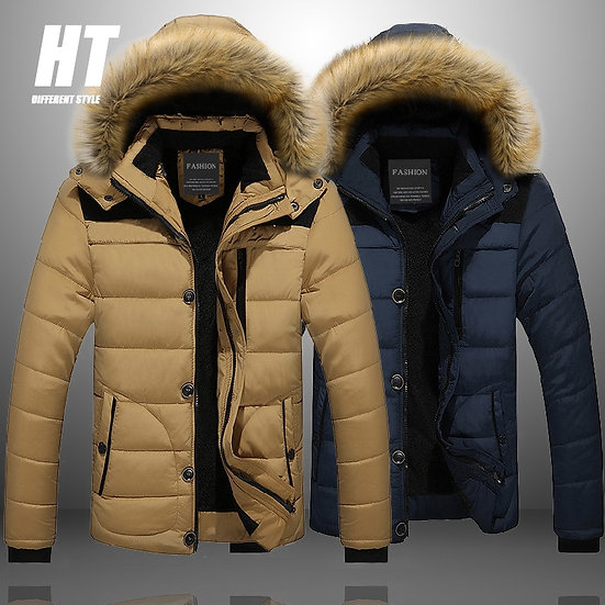 Men Parka Casual Hooded Men's Jacket Fur Lined Solid Snow Parkas Outerwear Thick