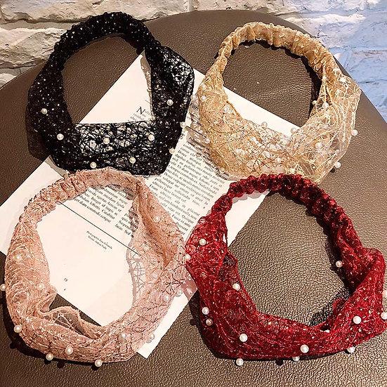New Women Luxury Elegant Pearls Lace Thin Elastic Headband Hair Holder Sweet