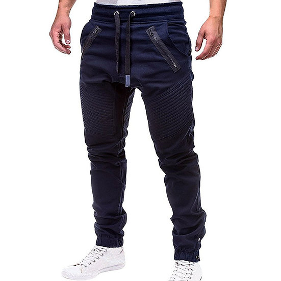 Men Casual Joggers Pants Solid Thin Cargo Sweatpants Male Multi-Pocket Trousers