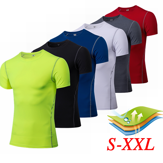 New Men's Running T-Shirts Compression Base Layer Quick Dry Short Sleeve Train