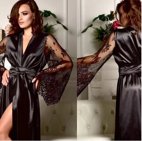 Ladies Women Satin Silk Nightdress Lingerie lace Silky Soft Sleepwear long Robe
