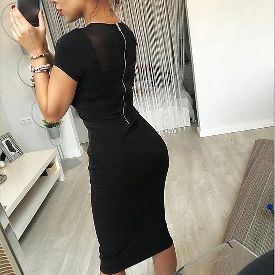 Hot 2019 Women Summer Dress Fashion Yarn Splicing Back Zipper Short Sleeved Knee