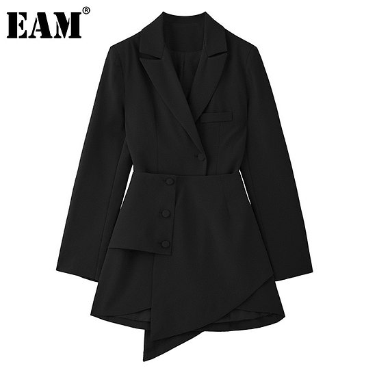 Women Black Irregular Split Joint Button Dress New Lapel Long Sleeve Loose Fit