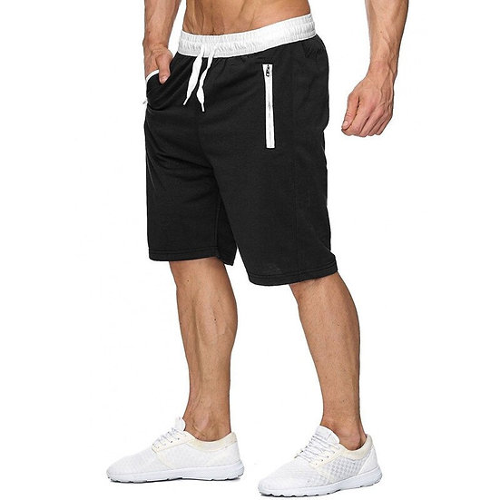New Fashion Mens Zipper Shorts Male Sweatpants Fitness Bodybuilding Workout Men