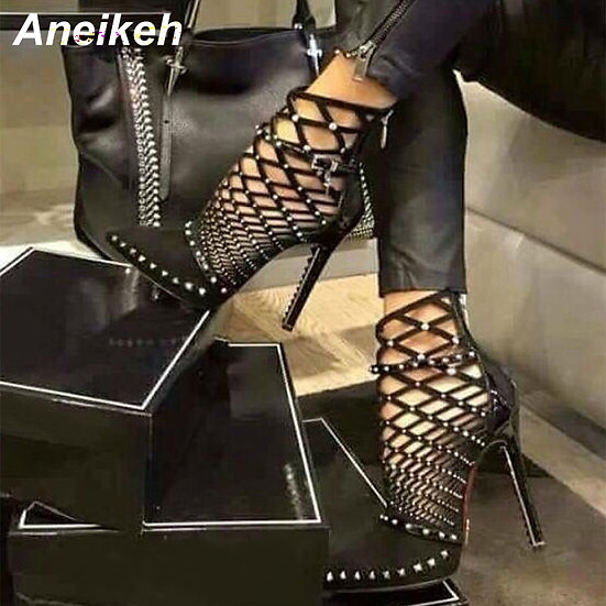 Aneikeh Gladiator Roman Sandals Summer Rivets Studded Cut Out Caged Ankle Boots