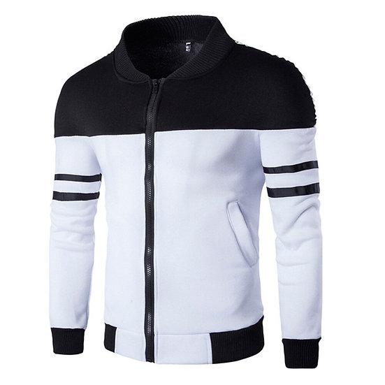 Fashion Autumn Winter Zipper Sportswear Patchwork Jacket Long Sleeve Coat