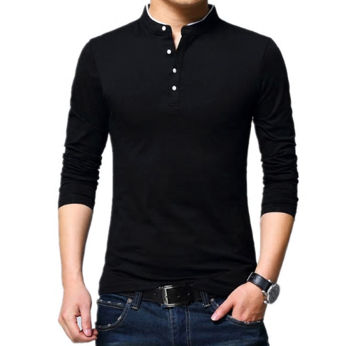 Liseaven Tshirt Men Solid Color Slim Fit Long Sleeve T Shirt Men Mandarin Collar