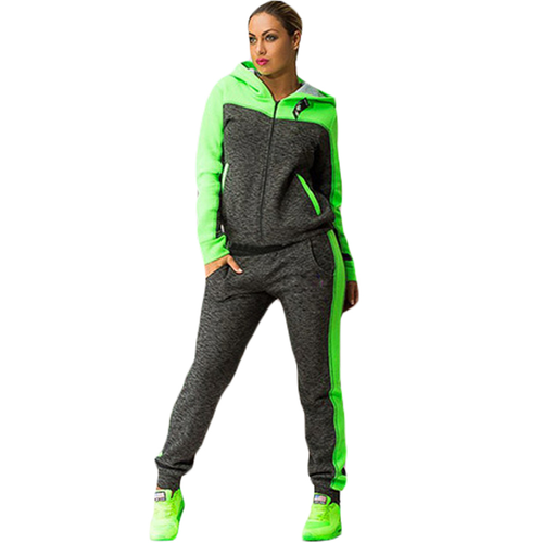 Patchwork Hooded Zipper Suit Set 2019 Women Tracksuit Two-piece Sport Style Outf