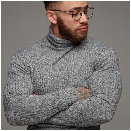 Fitness Running T Shirt Men Turtleneck Knitting Long Sleeve Sweater Elastic Slim