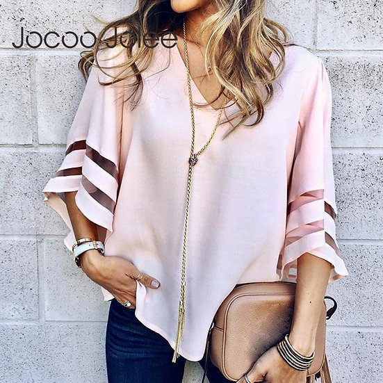 V Neck Flared Sleeves Mesh Patchwork Shirts Summer Plus Size Casual Loose Mesh