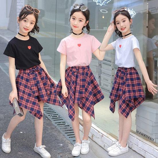 Summer Teen Kids Clothes Set Heart Pattern Tshirt+Plaid Skirt  4 8 to 12 14