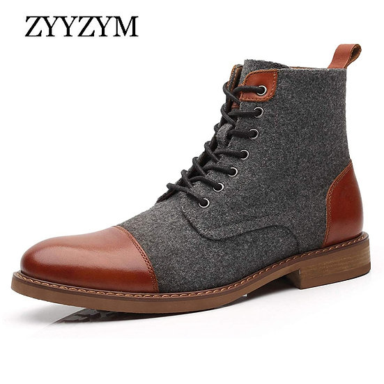 ZYYZYM Men Ankle Boots Autumn Winter Casual Lace Up Shoes Booties Oxfords Fashio