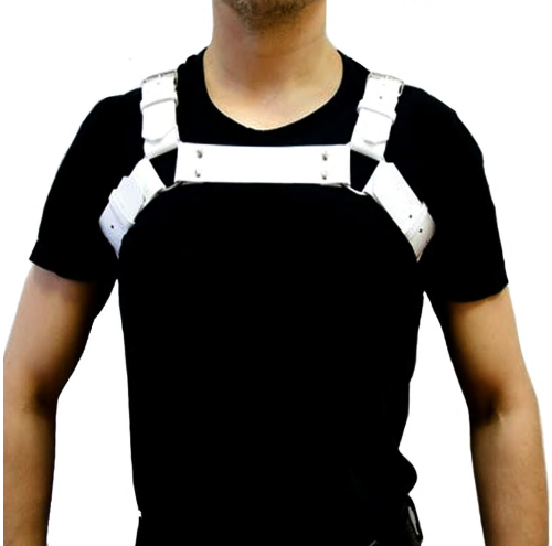 New Mens PU Leather Black cool Shoulder Body Chest Harness Adjustable Costume Be