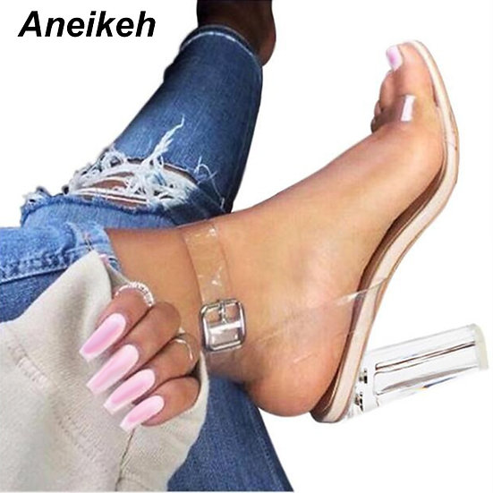 Aneikeh 2021 PVC Jelly Sandals Crystal Open Toed High Heels Women Transparent