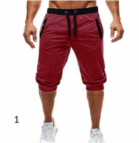 heat brand knee long men's shorts color patchwork jogger sports Bermuda casual