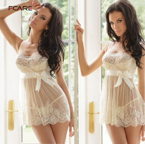 Plus Size Dress+g String White Erotic Sexy Lingerie Lace Hot