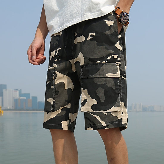 Mens Cargo Casual Shorts Summer Loose Running Beach Shorts Cotton Camouflage